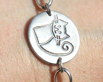 Silver cat bracelet, cat bracelet, sterling cat bracelet, cute cat bracelet, pet bracelet, cat lover bracelet, cat lover gift