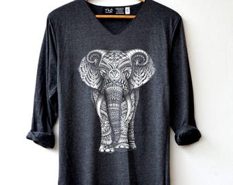 Elephant T-Shirts - Drawing graphic Animals T-Shirt Long Sleeve High Quality Graphic T-Shirts Unisex