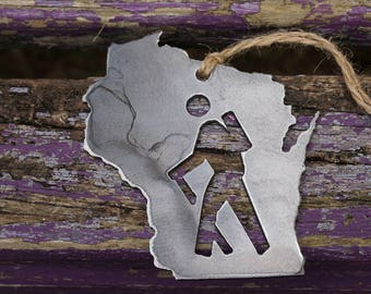 Love Wisconsin Hiker Steel Ornament Rustic Love WI Metal State Heart Holiday Gift Stocking stuffer Industrial Decor Wedding Favor
