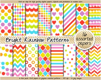 SALE rainbow digital paper bright digital paper rainbow clipart rainbow background polka dot chevron heart stripes quatrefoil star pattern
