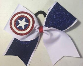 Captain America cheer bow cheerleading