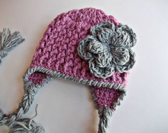Earflap baby hat, newborn girl hat, hat with earflaps, baby girl hat, winter baby hat,mauve baby hat, coming home outfit, newborn winter hat