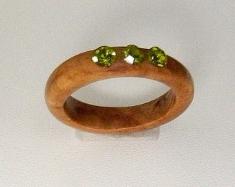 Olive wood ring with swarovski elements