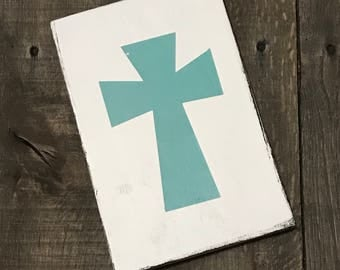 Aqua Cross, Easter decor, Easter sign, spring decor, Bunny on reclaimed wood,