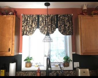 Window valance, black and gold window valance, floral valance