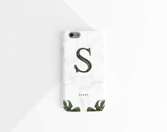 Personalised phone case, marble phone case, botanical phone case, iPhone case, name phone case, monogram phone case, christmas gift for her,