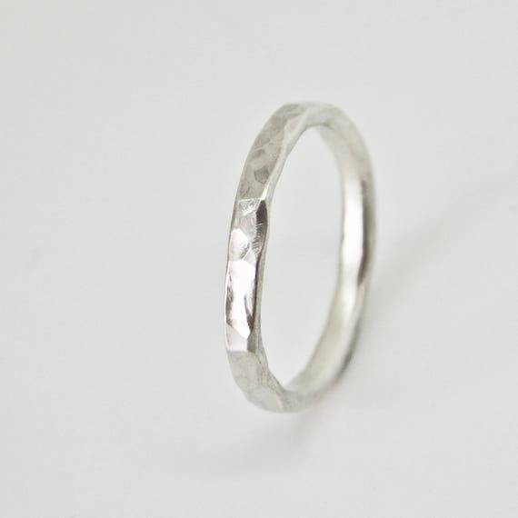 Silver Round Hammered Thin Ring