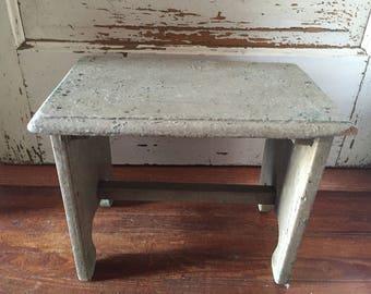 Sweetest little antique folk art wooden bench! All original paint!
