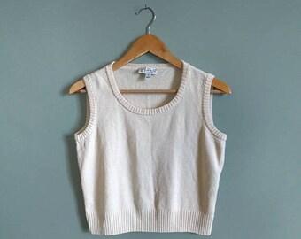 SALE vintage 90's cropped wool blend vest in cream