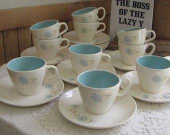 Blue Boutonniere Cup and Saucer Taylor, Smith & Taylor Ever Yours Series Twelve (12) Sets Available Vintage Dinnerware Priced Individually