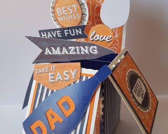 Personalised Handmade 3D Pop-up  Dad Father Birthday Card