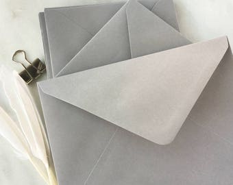 "50 5x7 Envelopes A7 Grey Envelopes Wedding Invitation Envelopes, card making craft supplies. True size 5.1/4x7.1/4"" 133x184mm"