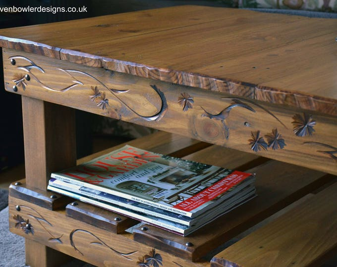 Bespoke Country Cottage Style Rustic Reclaimed Wood Coffee Table Medium Oak Stain Decorative Carving Undershelf Storage Handcrafted to Order