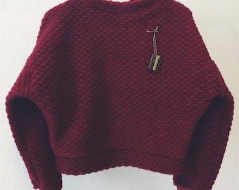 Burgundy Cropped Wool Sweater