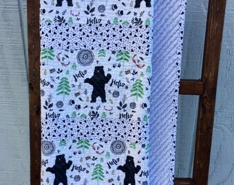 Baby Boy Woodland Quilt, Hello Bear Quilt, Modern Adventure Baby Quilt, Modern Baby Quilt, Woodland Boy Quilt, Adventure Nursery