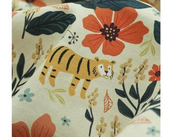 Cute Tiger and Floral Cotton Fabric by Yard - Vanilla Color