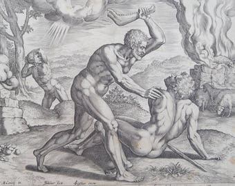 Authentic Original Renaissance 16th Century Copper Engraving of Cain Slaying Abel by Jan Sadeler ! Northern Renaissance Jewish Biblical