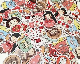 Monster Sticker (10+1) , Yokai Collection Sticker, cute sticker, sticker set, illustration stickers, stationery, Planner Stickers ,sticker