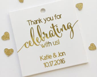 Thank You For Celebrating With Us Favor Tags, Foiled Custom Favor Tags, Thank You Custom Wedding Hang Tags (SQ-362-F)