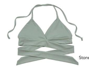Seamless Wrap-around Halter Bikini Top, Swimsuit, Swimwear, Bathing Suit, Women's Swimwear, Criss Cross Bikini Tops