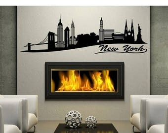 20% OFF Summer Sale New York Skyline wall decal, sticker, mural, vinyl wall art