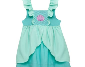 Smocked Little Mermaid Ariel Flutter Sleeve Dress