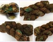 Hand Dyed/Hand Painted Yarn--Turquoise Vein on 100% Superwash Merino Single ply high twist