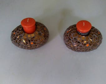 Candle holder covered with mosaic tesserae Pebble