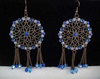 bronze and blue swarovski earring