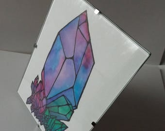 Original Framed Art Watercolor Crystals | Framed Art | Home Decor | Wall Hanging | Wiccan Art