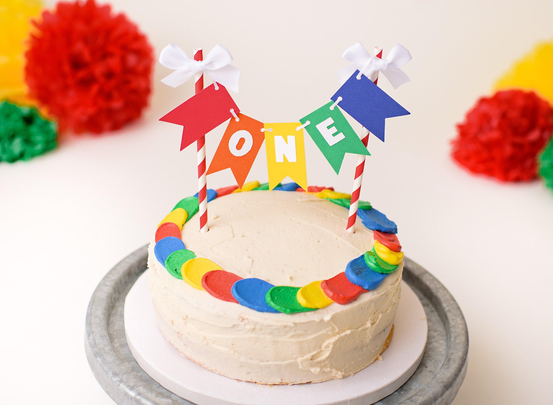 Rainbow Smash Cake Topper Rainbow First Birthday Decorations