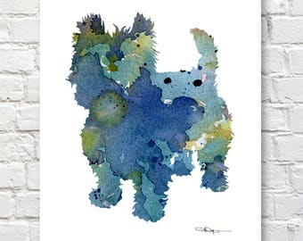 West Highland Terrier Art Print - Abstract Watercolor Painting - Wall Decor