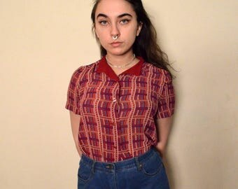 Small Red Geometric Button-Up