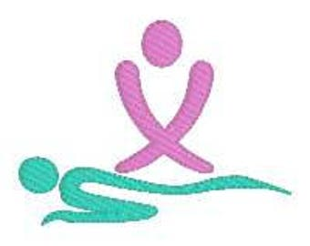 BUY 2 GET 1 FREE - Massage Logo Silhouette Machine Embroidery Design, 3 Sizes Including Mini
