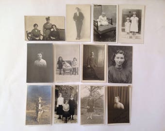 12 Old Photographs / Postcards of People, Vintage 1920s /30s Fashions & Hairstyle Unposted but written on the reverse Film or TV Prop