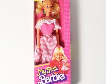 1982 My First Barbie Doll #1875 with Pink Gingham Dress-NIB NRFB, Sealed