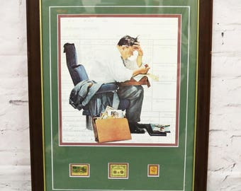Norman Rockwell's Expenses Framed Print Postal Commemorative Society w/ Stamps