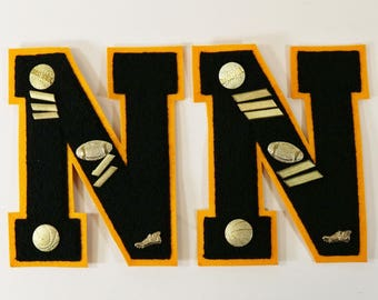 """2 Vtg Wool High School Letters for Sweater or Letterman's Jacket W/Pins- """"N"""""""