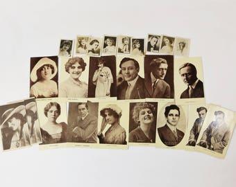 Lot of 23 Silent Film Stars Postcards RPPC & Cigarette Cards