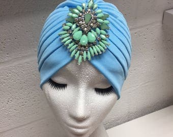 Baby Blue Embellished Turban