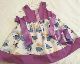 Baby girls dress eyeore rainbows purple lace bodice party,summer dress
