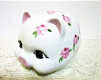 Piggy Bank For Girls Hand Painted Pink Porcelain Ceramic Nursery Decor blm