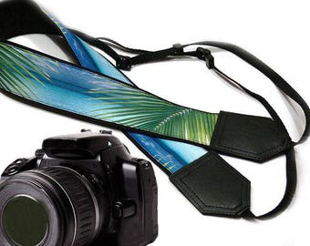 Camera Strap with palm leaves. Ocean Camera Strap. Palms camera strap. Camera accessories by InTePro