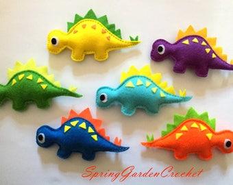 Felt STEGOSAURUS Dinosaur/Colorful Dinosaur ornament/Jurassic park/ Nursery decor/ Home decor-toy baby ornament---one stuffed plush dinosaur