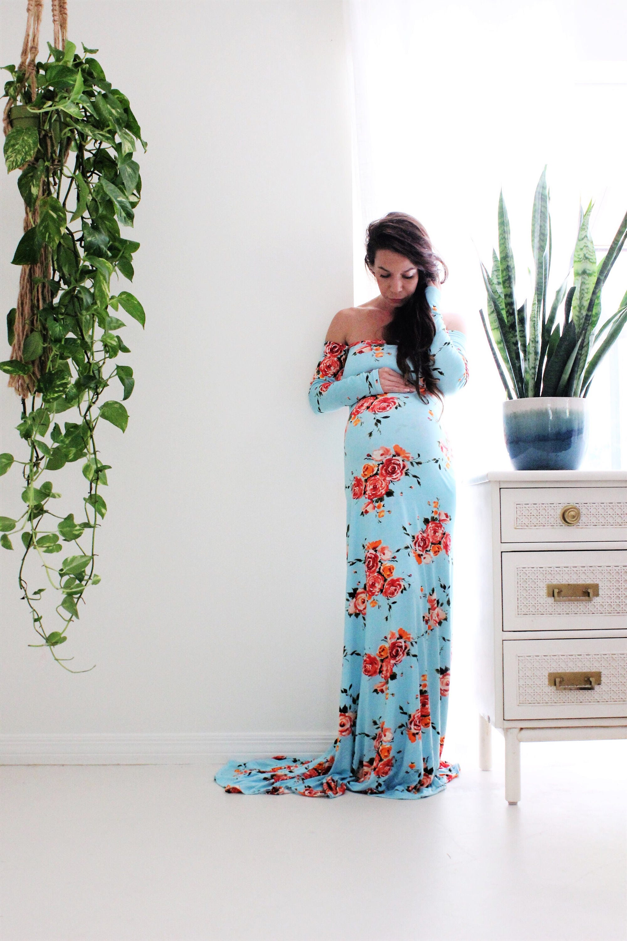 long sleeve maternity gown photo shoot baby shower dress
