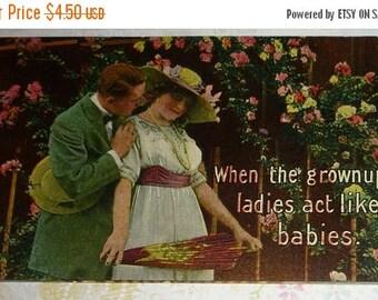 ON SALE till 7/28 Art Nouveau Couple Humorous Antique Postcard