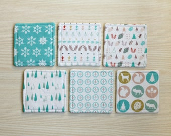 Set of 6 winter pattern fabric coasters