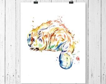 BEAVER PRINT, woodland animal, beaver watercolour, woodland art, beaver painting, woodland nursery, nursery art, Canada, Canadian art