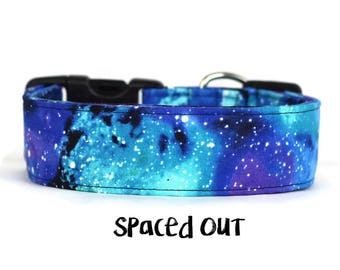 Dog Collar, Galaxy Dog Collar, Space Dog Collar, Girl Dog Collar, Stars Dog Collar, Boy Dog Collar (Upgrade to Metal Buckle or Martingale)