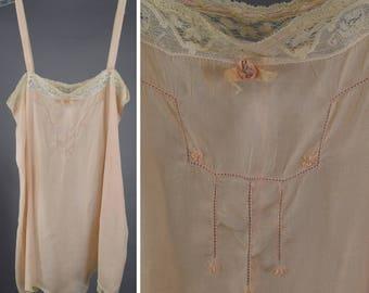 Vintage 20s Pink Silk Step-In Teddy Lingerie